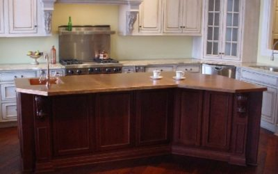 Custom Copper Countertop Island with Custom Copper Patina Finish