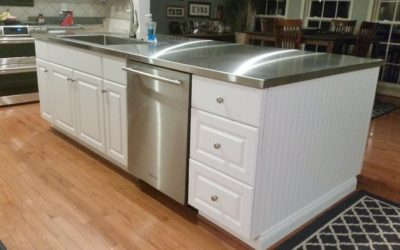 Custom Stainless Steel Island Countertop with Top Mount Stainless Sink