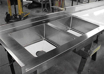 Lenox, Massachusetts: Stainless Steel Countertop with Integral Stainless Steel Double Sink Bowls