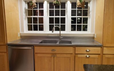 New Hampshire Stainless Steel Countertop with Drainboard and Stainless Sinks