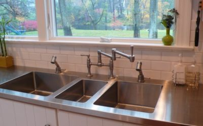 Triple Play: Custom Stainless Steel Countertop with Three Integral Sinks