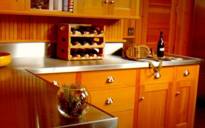Stainless Steel Counter and Sink Combo Featured in Adirondack Great Camp Kitchen