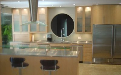 Custom Stainless Steel Countertops and Stainless Steel Hearth in California