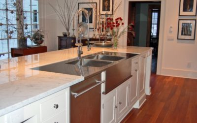 Custom Stainless Steel Countertop with Farmer Style Apron Sink