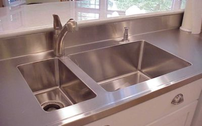 Custom Stainless Steel Island Countertop with Double Integral Stainless Steel Sinks