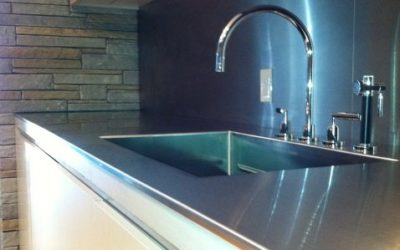 New York City Stainless Steel Kitchen Countertop with Custom Stainless Sink.