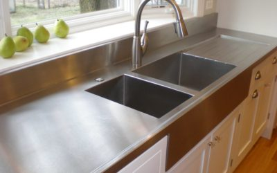 Chicago Farmer Style Stainless Steel Countertop with Integral Stainless Steel Sinks and Integral Stainless Steel Drain Board
